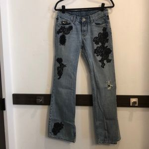 Euc Express distressed lace bejeweled jeans size 4